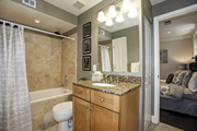 Marble Bath with Linen Closet directly accessed from Master Bedroom